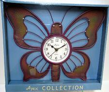 New Butterfly Shaped Maroon Burgundy Quartz Metal Wall Clock Butterflies Clocks