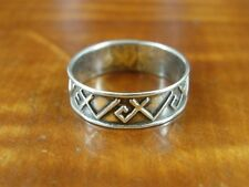Silver 925 Ring Size 5 1/2 Angle Raised Line Mexico Band Sterling