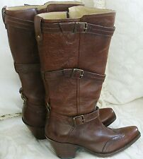 Corral  3 Buckles Wing Tip Chestnut Leather Wesern Fashion Boots Size: 8.5 NIB