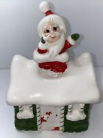 Vintage Lefton Christmas Cookie Jar Santa on House Roof Chimney Japan 1960s