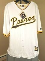 San Diego Padres MLB Majestic Classic White Padres Large Jersey