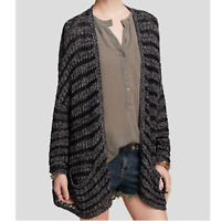 Free People Night Stripes Cardigan Open Front Sweater Black Gray Lace Knit XS