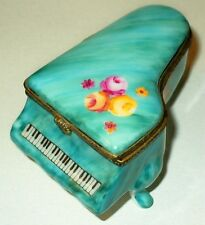 LIMOGES BOX~ TEAL FLORAL GRAND PIANO ~ FLOWERS ~ ROSES ~ SHEET MUSIC ~PEINT MAIN