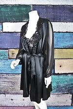Vintage Christian Dior Black Satin Embellished Robe and Nightgown Set MEDIUM M