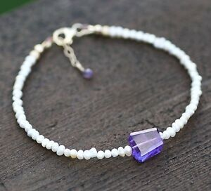 Natural Amethyst and Pearl Bracelet 14K Gold Filled 6th 17th Anniversary Canada
