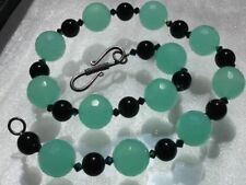 "Vtg Green Chrysoprase 18"" Necklace LG 15mm Faceted Round Beads AAA Translucent"