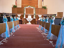 Wedding ribbons bows ebay wedding decor chair bows pew bows turquoise white church aisle decoration junglespirit Image collections