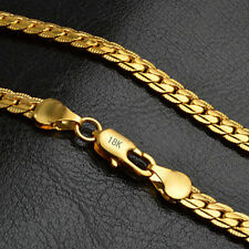"""Collar Para hombre oro amarillo 18k sólido cadena de eslabón Cubano Enlace 20"""""""