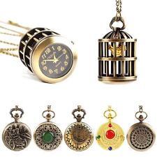 Graceful Bronze Pocket Watch Design Quartz Watch Pendant Chain Necklace DRCA