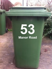 2 X WHEELIE BIN STICKERS WITH HOUSE NUMBER & ADDRESS