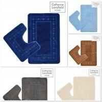 Catherine Lansfield Non-Slip Armoni Bath Mat & Pedestal 2pc Set Various colours