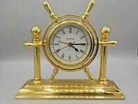 Elegant Bulova Brass Ships Wheel Nautical Alarm Desk Clock For Parts or Repair