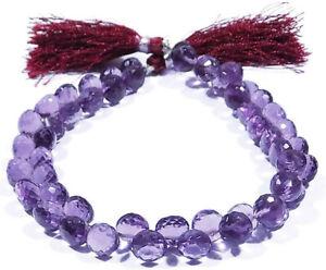 Purple Amethyst Lab Quartz Faceted Onion Shape Beads 7 Inch Strand 8x8mm #US-444