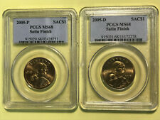 2005-P & 2005-D Satin Finish Sacagawea Native American Dollars PCGS MS68