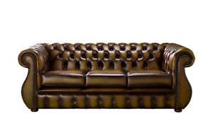 Chesterfield Sofa Helena Settee 3 Seater Antique Real Leather Made In UK