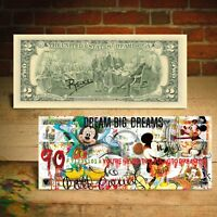 MICKEY MOUSE 90th Birthday Legal Tender $2 US Bill Pop Art HAND-SIGNED by Rency