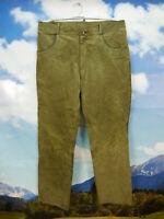 Nur leicht verspeckt sonst gut erhalten bequem lang grün Lederhose Gr.52