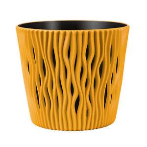 Pflanzgefässe Blumentopf Sandy round gelb Kunststoff Pflanzkübel ⌀ 13cm Einsatz