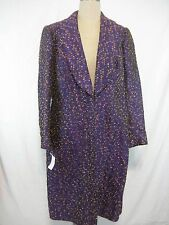 Vintage 90s Michael Casey Couture Evening Coat Size M Purple Copper Metallic