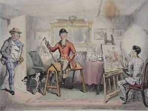 Hound & Fox Hunting MR BRAGGS EQUESTRIAN PORTRAIT c1853 John Leech Cartoon Print