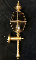 Large Vintage Thomas Outdoor Wall Light Torch Lantern Amber Glass Solid Brass 28