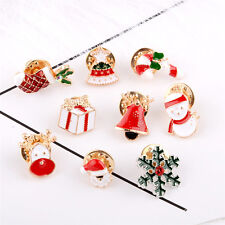 3X Christmas Snowflake Crystal Sante Claus Rhinestone Brooch Pin Badge Xmas