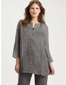 Eileen Fisher Long Linen Gauze Tunic LT Gray LG