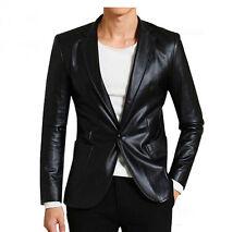 Mens Leather Biker Slim Suit Blazer Coats Jackets Tops Luxury Outwear Business