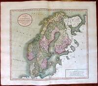 Scandinavia Sweden Denmark Norway 1811 John Cary lovely large old map