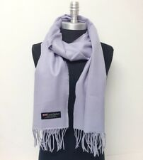 New 100% CASHMERE SCARF MADE IN SCOTLAND SOLID Lavender SUPER SOFT Wool Wrap