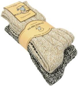 2 Paar Norweger Strick-Socken mit Antirutsch Sohle, Woll Socken mit ABS Sohle