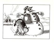 Cat Rubbing Up Against Snowman Winter Snow Kliban Cat Print Black White Vintage