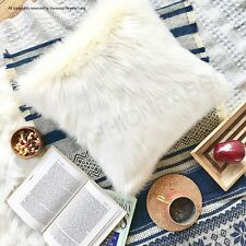 White Faux fur pillow covers decorative suede Home Decor Made in US
