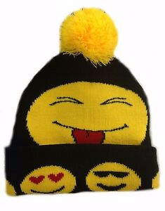 Ladies Mens Kids Cute Bobble Warm Winter Emoji faces Smilies Beanie Ski Hat Caps