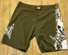 Tapout Mens Skull Shorts Green With White Logo Skull Design Size 38