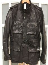 VGC FIRETRAP IAGO LEATHER MILITARY STYLE COAT SIZE L RRP £360