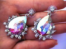 AB Crystal Silver Clear Earrings Wedding Bride Pageant Showgirl Bridal Long Prom