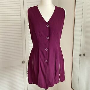 Vintage GSL Tassel Vest Top Size Small Medium Purple Festival Boho Gypsy Blouse
