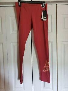NWT Women's ADIDAS x ZOE SALDANA Logo  Printed Tight Light Red Leggings Medium