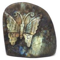 "3"" Butterfly Natural Gemstone Labradorite Crystal Carved Animal Figurine Crafts"