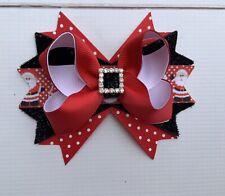 Handmade Christmas Santa Inspired Boutique Stacked Hair Bows