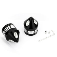 Pair Front Black Axle Nut Cover Cap Mount Protector For Harley Dyna Street Glide
