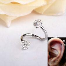 1PC Stainless Steel Crystal Twist Ear Helix Cartilage Earring Stud Body Piercing