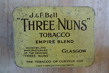 "J & F BELL ""THREE NUNS"" TOBACCO EMPIRE BLEND GLASGOW 1944 CIGERETTE TIN"