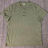 J Crew Mercantile Mens Large Broken In Short Sleeve Henley Shirt Green K1253