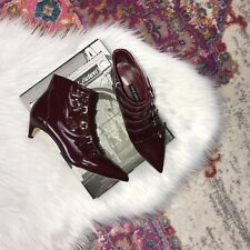 New Nine West Women's Size 6 Wine Zydeco Pointy Toe Buckle Boot Patent Leather