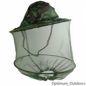 Camo Mosquito Net Hat Insect Midge Wasp Bug Head Face Mesh Fishing Camping UK