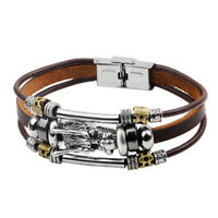 Vintage Charm Leather Bracelet Ethnic Bohemia Style Hand Rope Chain Gift for Men