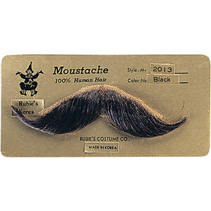 HUMAN HAIR HANDLEBAR MOUSTACHE COSTUME MUSTACHE BLACK BROWN / TOUPEE TAPE 2013