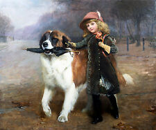 Oil painting Charles Burton Barber - Off To School young girl with her pet dog